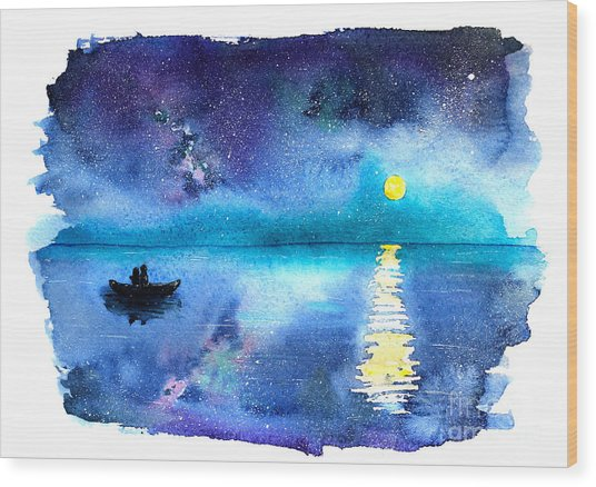 Romantic Starry Night Lake View With Wood Print