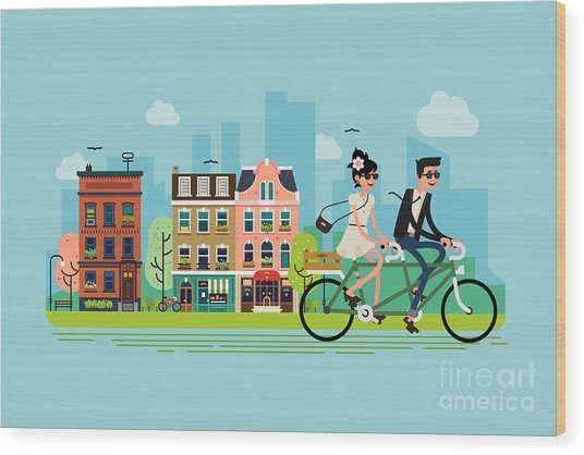 Romantic Vector Concept Illustration On Wood Print by Mascha Tace