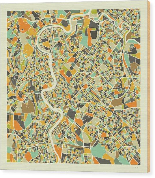 Rome Map 1 Wood Print