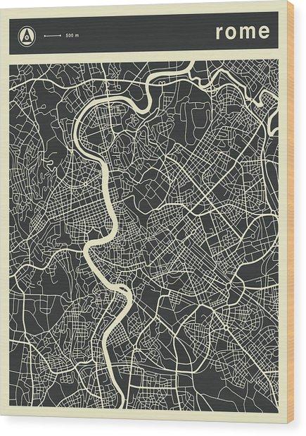 Rome Map 3 Wood Print