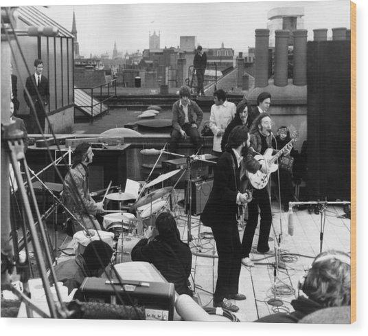 Rooftop Beatles Wood Print