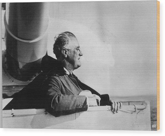Roosevelt At Sea Wood Print by Keystone