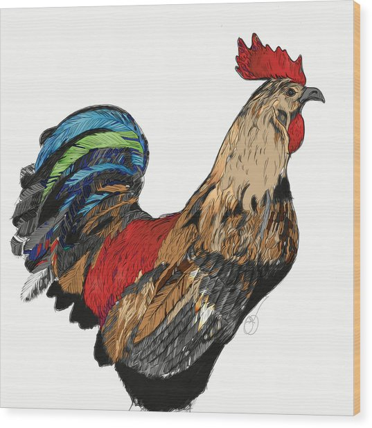 Wood Print featuring the digital art Rooster 1 by Lucas Boyd