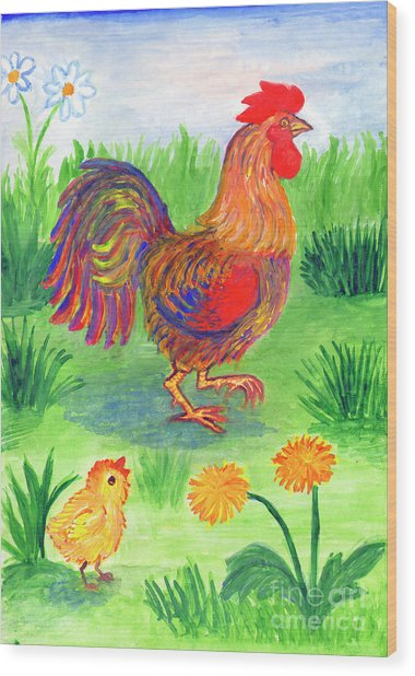 Rooster And Little Chicken Wood Print
