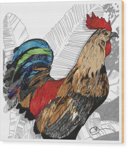 Rooster On Big Island Wood Print