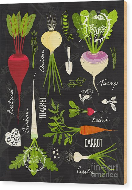 Root Vegetables With Leafy Tops Set For Wood Print