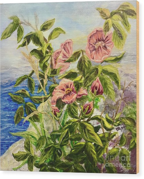 Wood Print featuring the painting Rosa By The Sea by Gail Allen