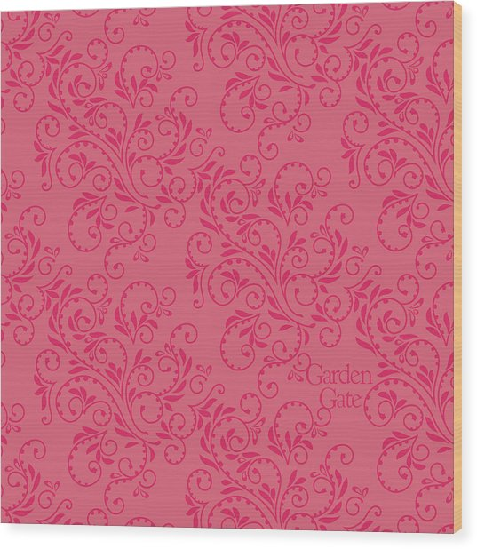 Rose Colored Fern Pattern Wood Print