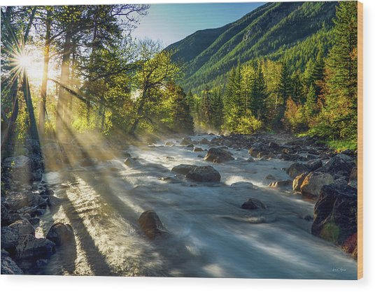 Wood Print featuring the photograph Rosebud Creek Sunrise by Leland D Howard