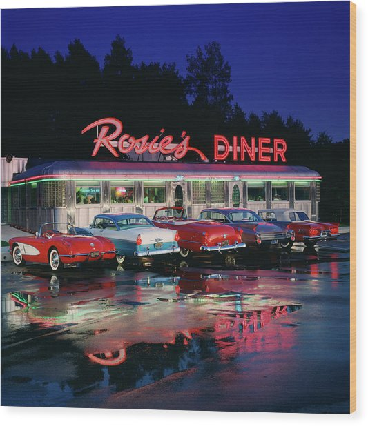 Rosies Diner Wood Print by Car Culture