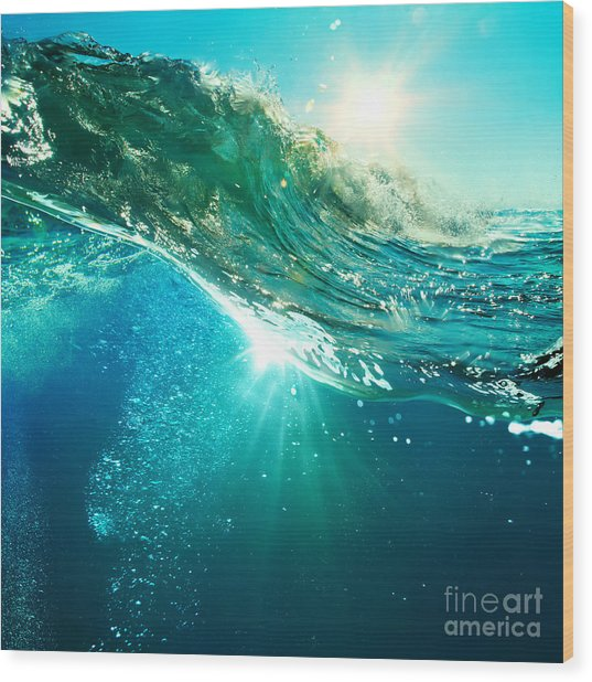 Rough Colored Ocean Wave Breaking Down Wood Print by Willyam Bradberry