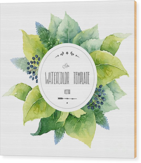 Round Watercolor Template With Green Wood Print
