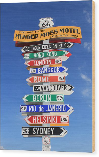 Route 66 - Crossroads Of The World Wood Print
