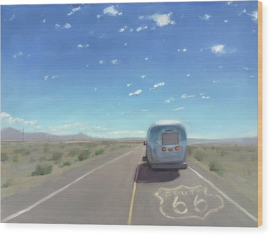 Route 66, Somewhere In California Wood Print