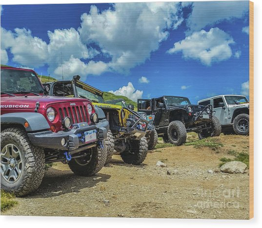 Row Of Jeeps Wood Print