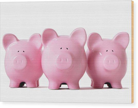 Row Of Pink Piggy Banks Wood Print by Hatman12