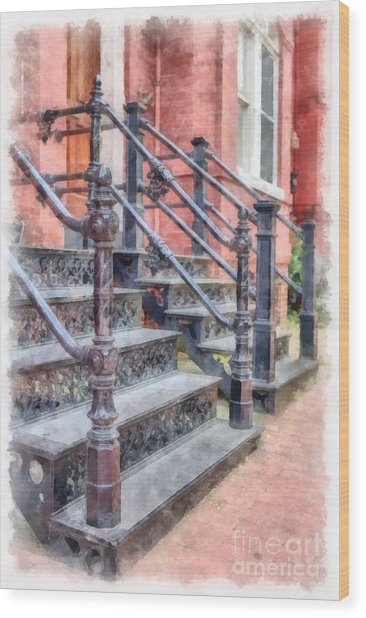 Rowhouse Stairs Washington Dc Neighborhood Wood Print