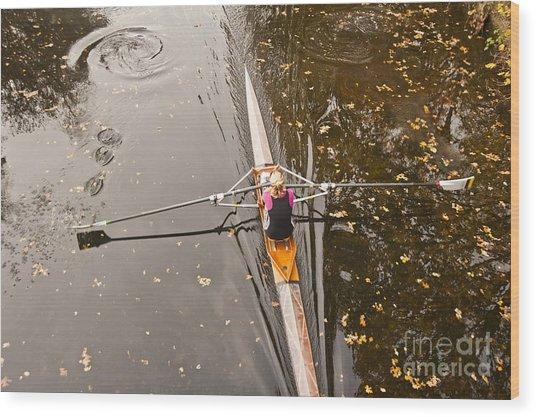 Rowing In Autumn Wood Print by Raevas