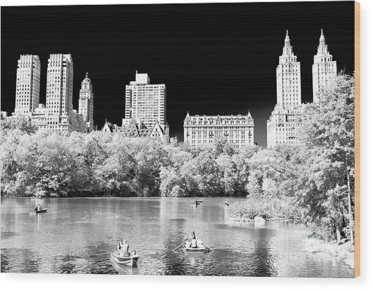 Rowing In Central Park New York City Wood Print