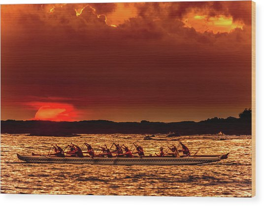 Rowing In The Sunset Wood Print