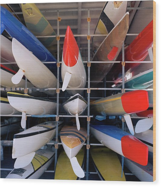 Rows Of Canoes In Boat House, Close-up Wood Print