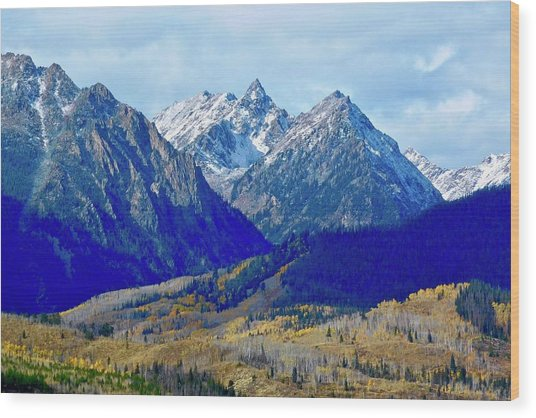 Wood Print featuring the photograph Rugged Peaks by Dan Miller