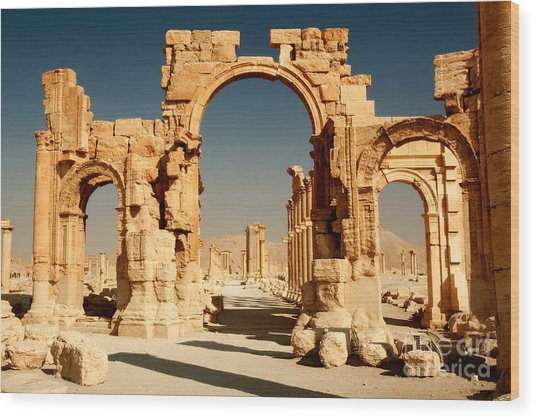 Ruins Of Ancient City Of Palmyra In Wood Print