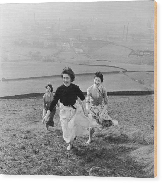 Running Uphill Wood Print