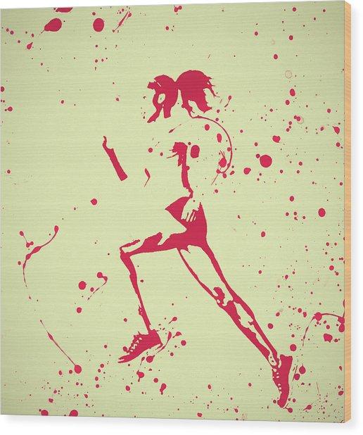 Running Woman Pop Art Wood Print