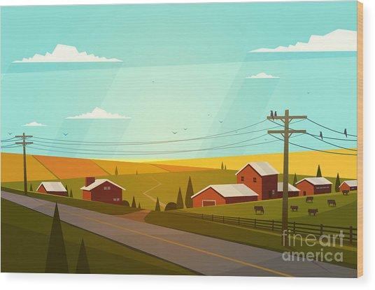 Rural Landscape. Vector Illustration Wood Print by Doremi