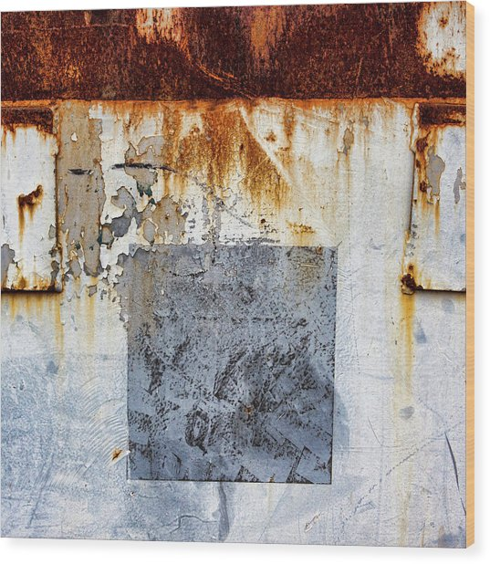 Rusty Patched Up Boat Wood Print