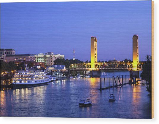 Sacramento River And Tower Bridge At Wood Print