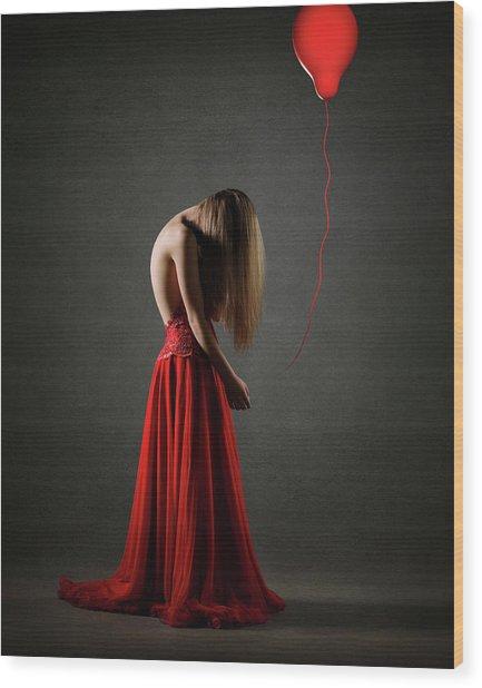 Sad Woman In Red Wood Print