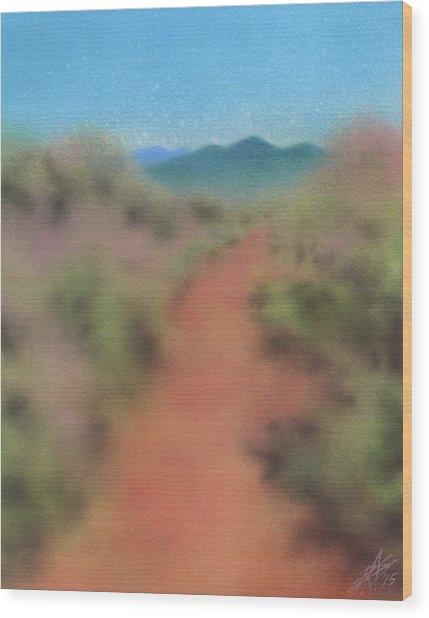 Sagebrush Path To Black Mountain Wood Print by Robin Street-Morris