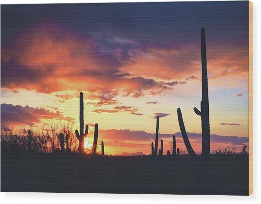 Saguaros Watch The Sunset Wood Print