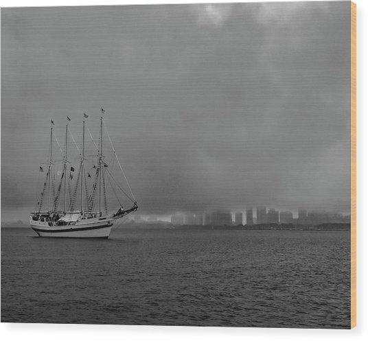 Sail In The Fog Wood Print