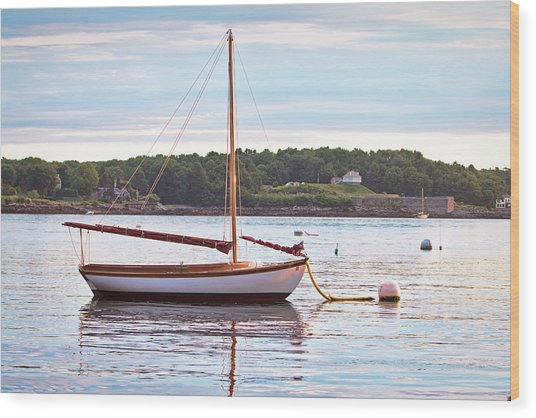 Sailboat At Sunrsie Wood Print by Eric Gendron