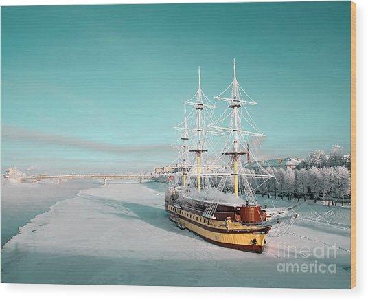 Sailboat On Pier Wood Print