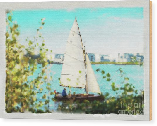 Sailboat On The River Watercolor Wood Print