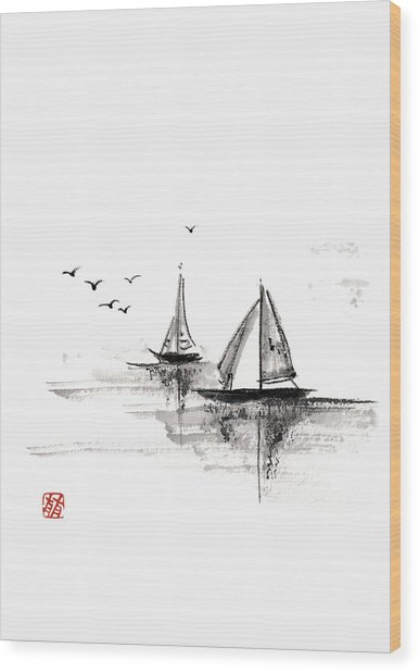 Sailboats On The Water Wood Print