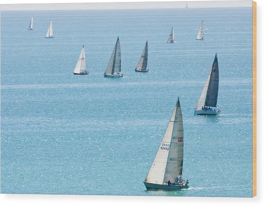 Sailboats Racing On Blue Water Wood Print by By Ken Ilio