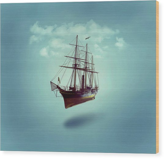 Wood Print featuring the digital art Sailed Away by ISAW Company
