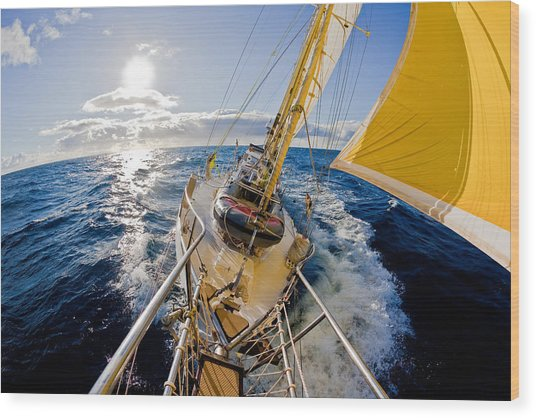 Sailing A Ketch Wood Print