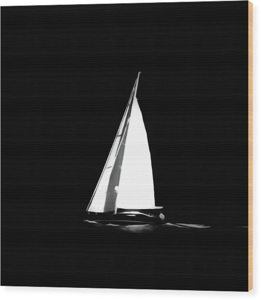 Sailing In The Night Wood Print