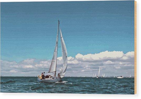 Sailing Regatta On A Brisk Summer's Day Wood Print