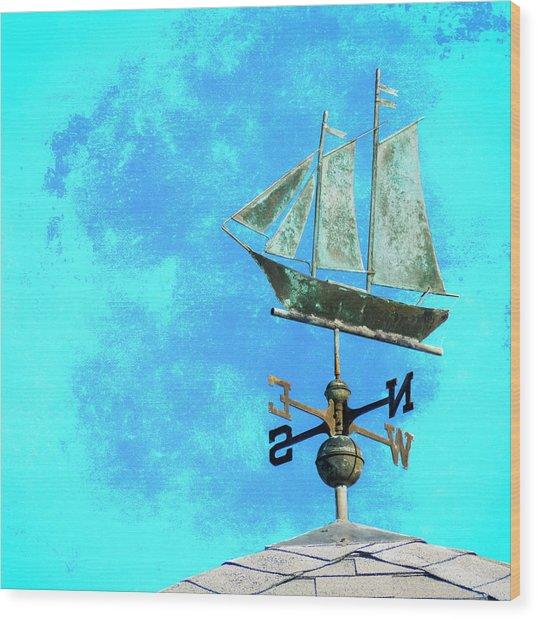 Sailing Ship Weathervane Wood Print