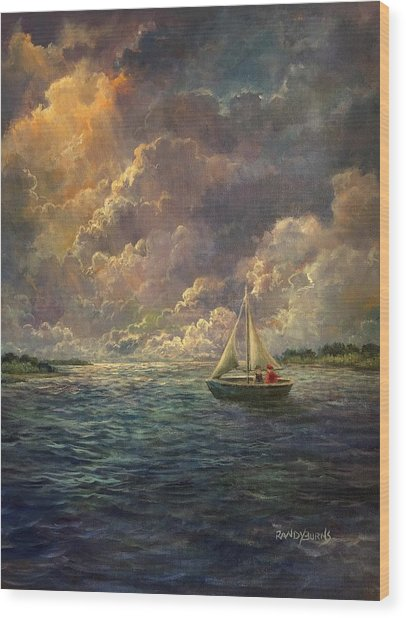 Sailing The Divine Light Wood Print