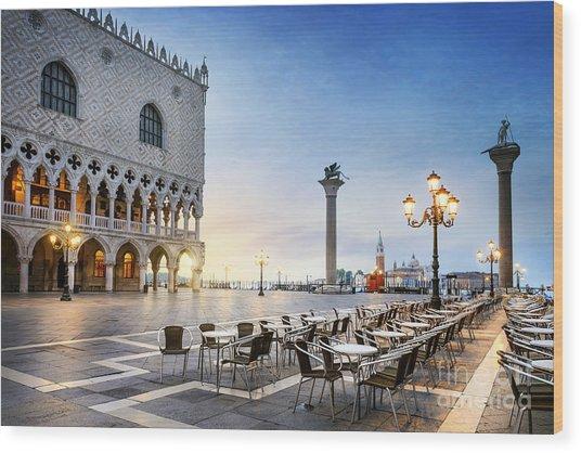 Saint Mark Square With San Giorgio Di Wood Print by Ventdusud