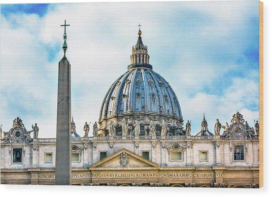 Saint Peter's Basilica Obelisk Wood Print by William Perry
