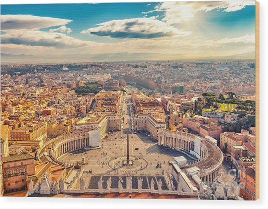 Saint Peters Square In Vatican And Wood Print